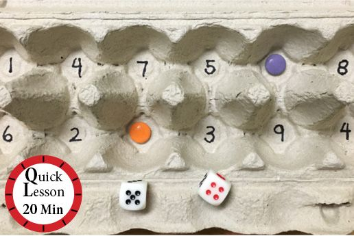 Scrambled Egg Math | Children shake the egg carton then roll a die to determine whether they will be adding or subtracting.