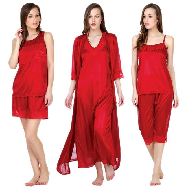 6 pieces nighty is an exclusive piece of alluring nightwear which is extremely comfortable and made up of luxurious light weight stretchable material Lycra (Synthetic fibre known for its elasticity) and Premium quality embroidered lace and satin in attractive color and style.
