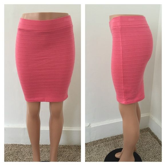Medium coral pencil skirt Form fitting coral pink bandage skirt  New without tags, was bought wholesale so it didn't contain any  ****price firm unless you bundle*****.                  NO TRADES!!!! Skirts Pencil