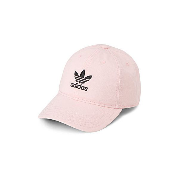 Adidas Pale pink baseball cap ($24) ❤ liked on Polyvore featuring accessories, hats, baseball caps, adidas, baseball hats, six panel hat and cotton baseball hats