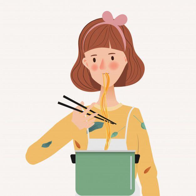 Mujer Joven Comiendo Fideos Degustar La Comida Y Cocinar Personaje Dibujado A Mano Con Personas De Estilo De Vid Personajes Diseno De Personajes Manos Dibujo