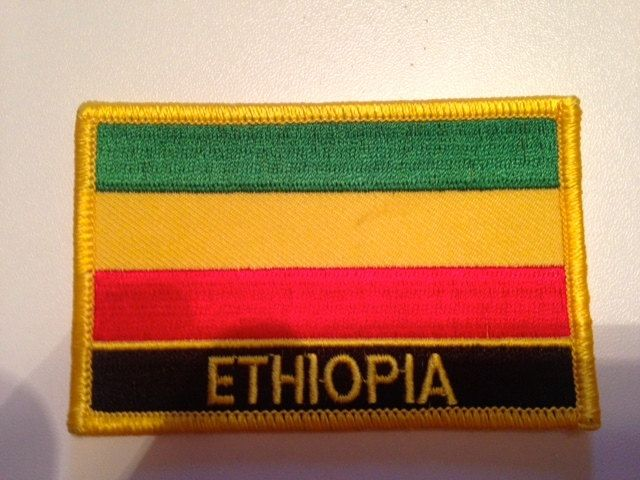 ETHIOPIA Embroidered Patch... Iron-On Ethiopian Flag embroidery patch... 3.5 by 2.25 inches by HeritageAndHeart on Etsy