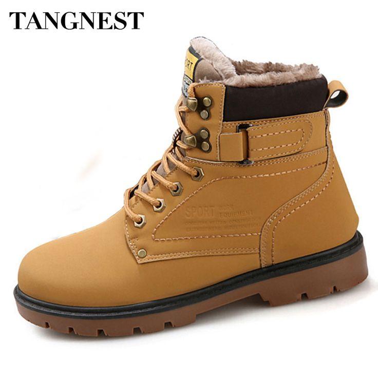 Tangnest Winter Fur Men Boots Casual Lace Up Safety Work Boots Autumn Men Platform Shoes Rubber Snow Boot Man Big Size 46 XMX637