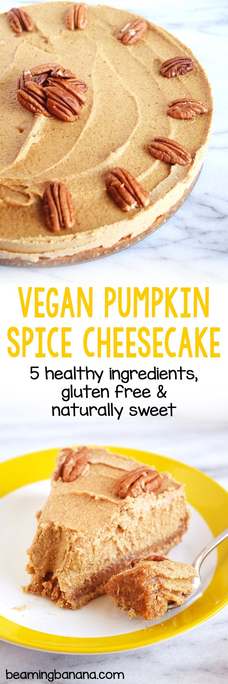 Rich, creamy vegan pumpkin spice cheesecake is a super easy but impressive dessert for your holiday parties! This cheesecake is made with just 5 healthy ingredients, gluten free and naturally sweetened.