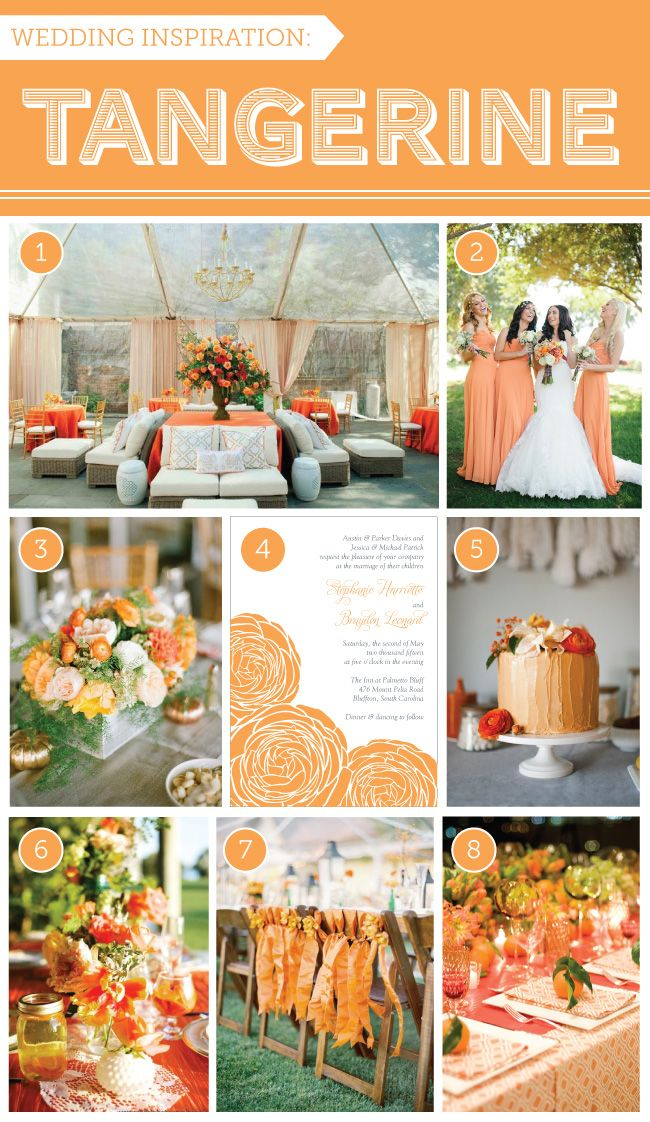 Tangerine Wedding Inspiration via Delphine