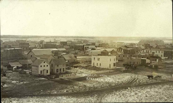 Postcard 12426: Birds eye view Stettler, Alta. (c1909)