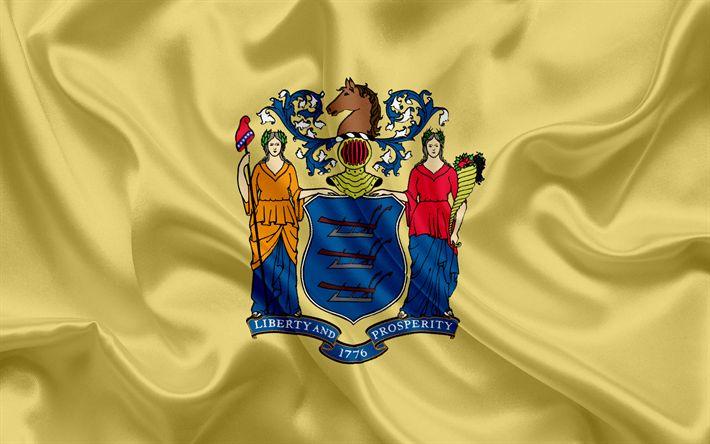 Descargar fondos de pantalla Del Estado de nueva Jersey Bandera, banderas de los Estados, de la bandera del Estado de Nueva Jersey, EEUU, estado de Nueva Jersey, amarillo bandera de seda, Nueva Jersey escudo de armas