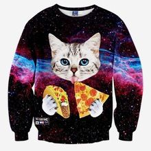 2016 новинка женщины / мужчины 3d напечатаны кошка / пицца кофты женские harajuku галактика толстовки одежда(China (Mainland))