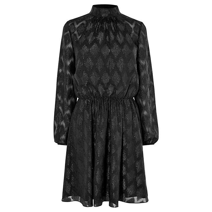 Karen Millen Metallic Jacquard Party Dress, Black