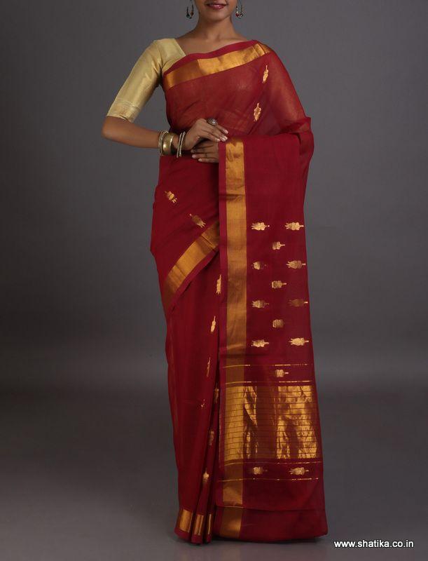 Bhuma Vibrant with Big Gold Motifs #VenkatgiriCottonSaree