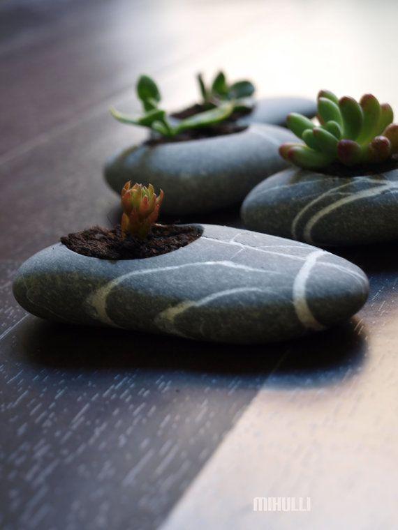 Looks like Jon needs a new drill bit! engraved beach stone flower planter  zen garden by Mihulli on Etsy