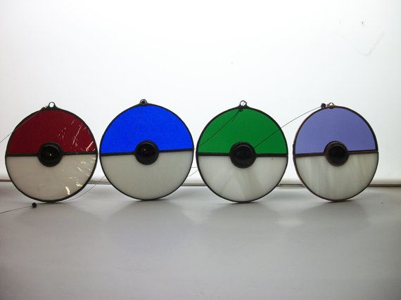 Stained Glass Pokeball Suncatcher by Windowtothesoulglass on Etsy