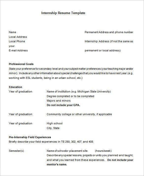Internship Internship Resume Free Resume Examples Resume