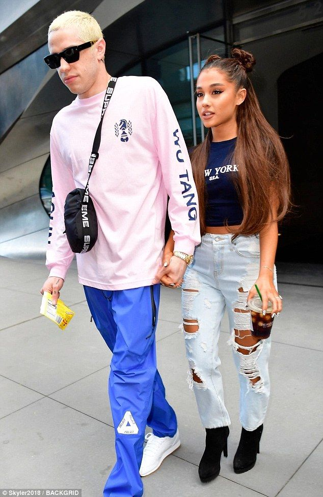 643530acd8c0 Ariana Grande holds hands with fiance Pete Davidson in NYC