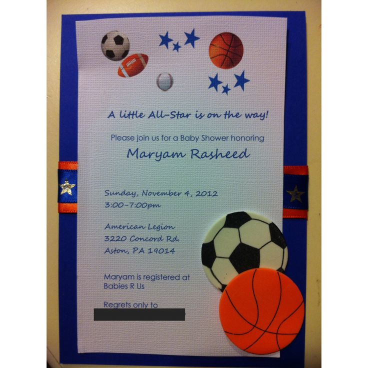 21 best lees baby shower images on pinterest soccer baby showers custom baby shower invitation soccer basketball themed filmwisefo Choice Image