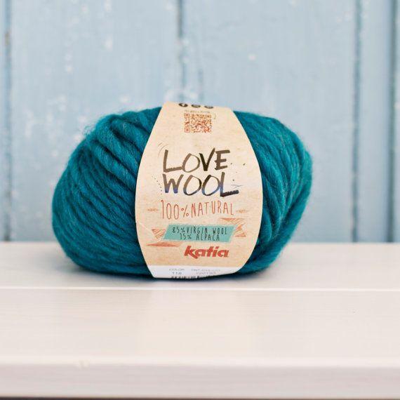 Love wool Yarn Wool & Alpaca petrol blue by Soulmadehome on Etsy