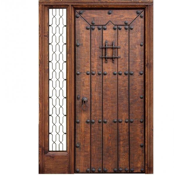 Puertas de entrada de madera rusticas puertas de entrada for Puertas de madera con herreria