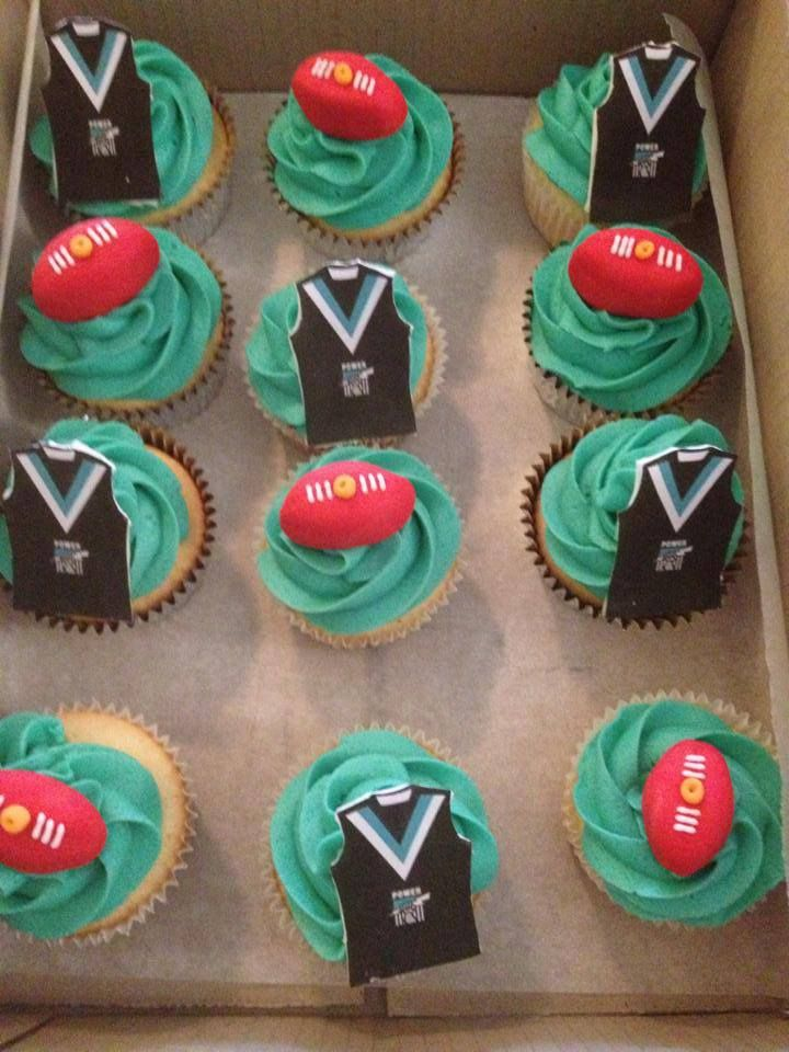 AFL Port Power cupcakes. 5th Birthday.