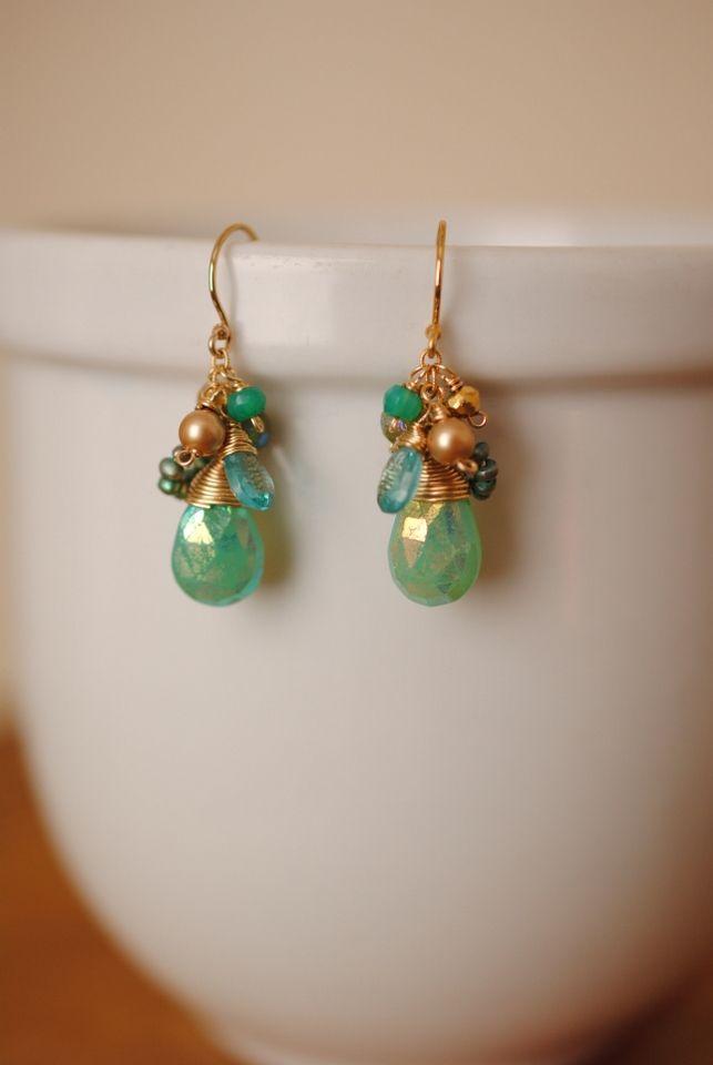 Anne Vaughan Designs - Key Lime Gemstone Cluster Earrings, $50.00 (http://www.annevaughandesigns.com/key-lime-gemstone-handmade-gold-filled-earrings/)