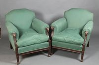 Lot 1085 A handsome pair of Edwardian mahogany Adam style armchairs with show frame rams head decoration, raised on square tapering supports, est £750-950
