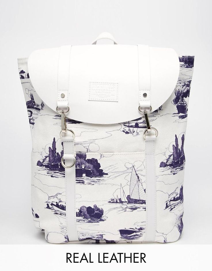 Jack+Wills+Brentwood+Canvas/Leather+Backpack