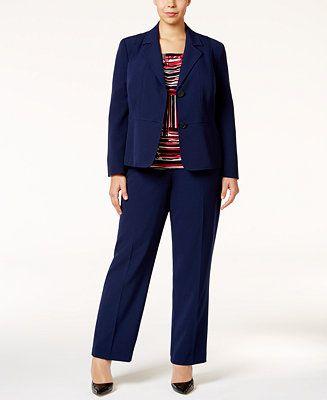 Kasper Plus Size Blazer, Printed Shell & Straight-Leg Pants - Suits & Suit Separates - Plus Sizes - Macy's