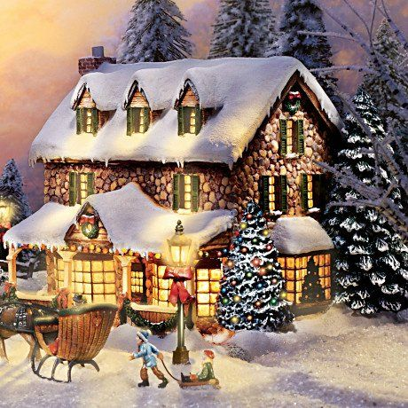 Thomas Kinkade Christmas Village | Thomas Kinkade Winter Splendor Christmas Village Set  Love this, the scene the lights. Thomas kincade was a magician his paintings are like magic!