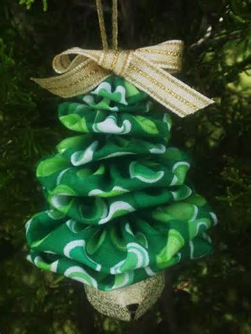 yo yo ornaments - tree, same fabric, with bell  Visit and Like our Facebook Page full of Ideas for all Holidays! https://www.facebook.com/pages/Holiday-Helpers/251688461649019?ref=hl