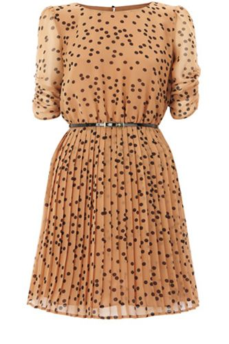 Spot Pleated Belted Skater Dress! I'm just all about polka dots right