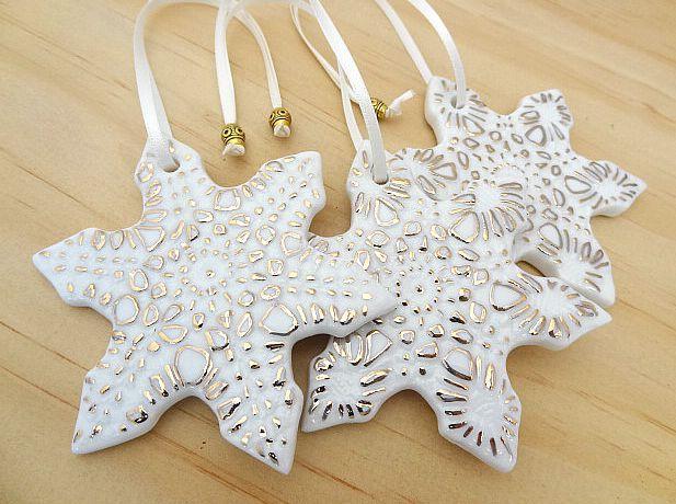 Handmade porcelain Christmas decorations. www.springwoodporcelain.etsy.com