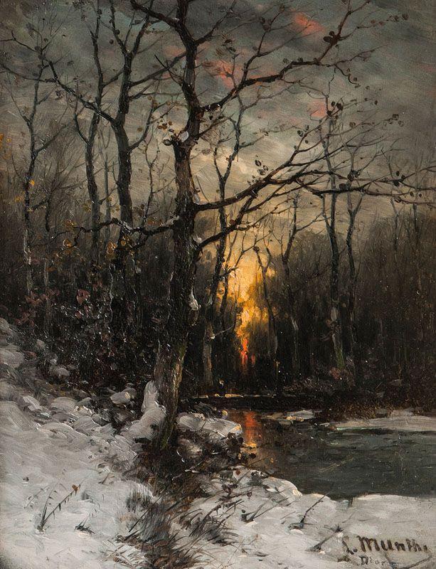 Ludwig Munthe - Winterly Creek in Dusk