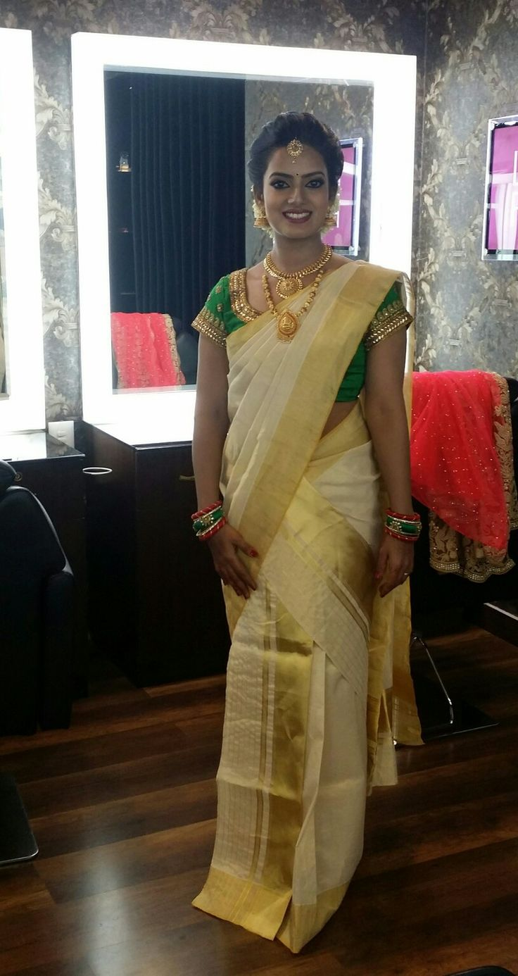 Kasavu saree. Kerala bride