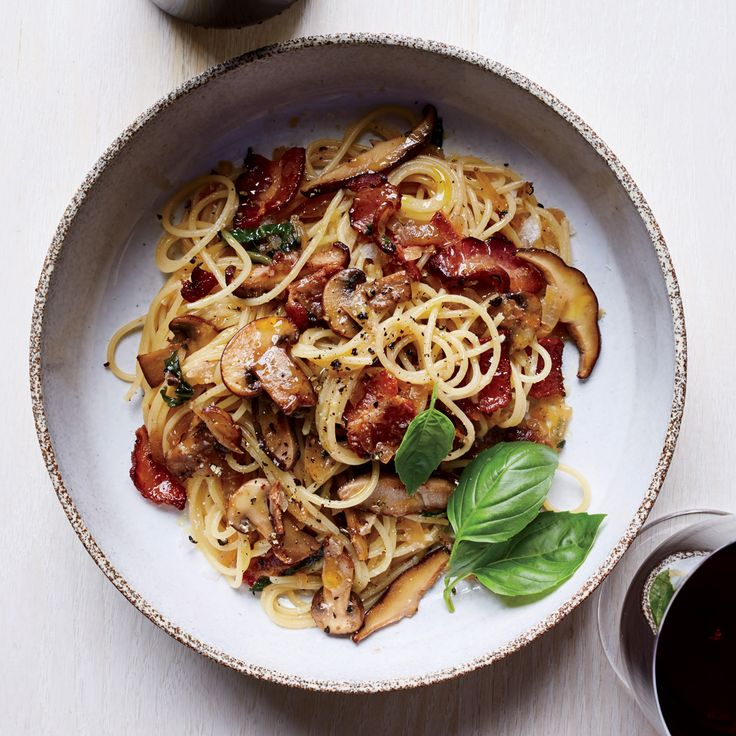 Spaghettini with Warm Bacon-Mushroom Vinaigrette