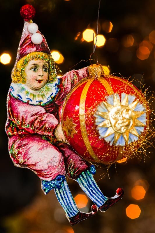 Victorian Style Dresden Circus Clown on vintage image Ornament  www.overthetopstudios.etsy.com