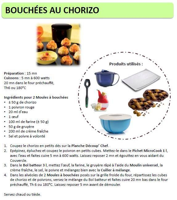 Bouchées au chorizo - Tupperware