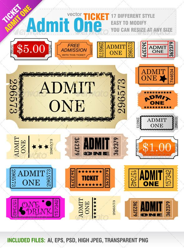 118 best Ticket Template images on Pinterest Event tickets - admit one ticket template
