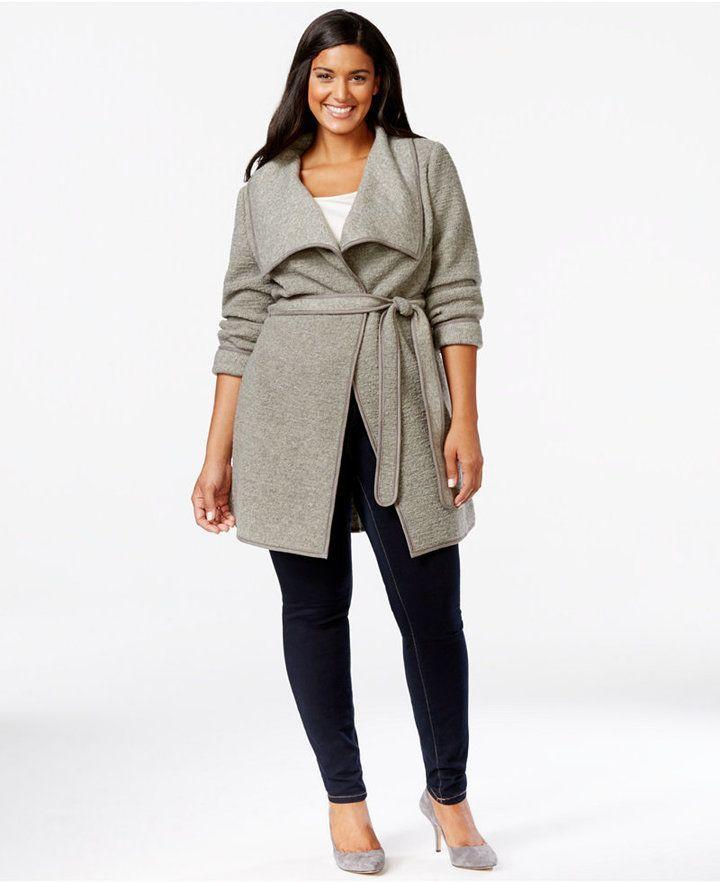 Plus Size Belted Wrap Sweater-Jacket