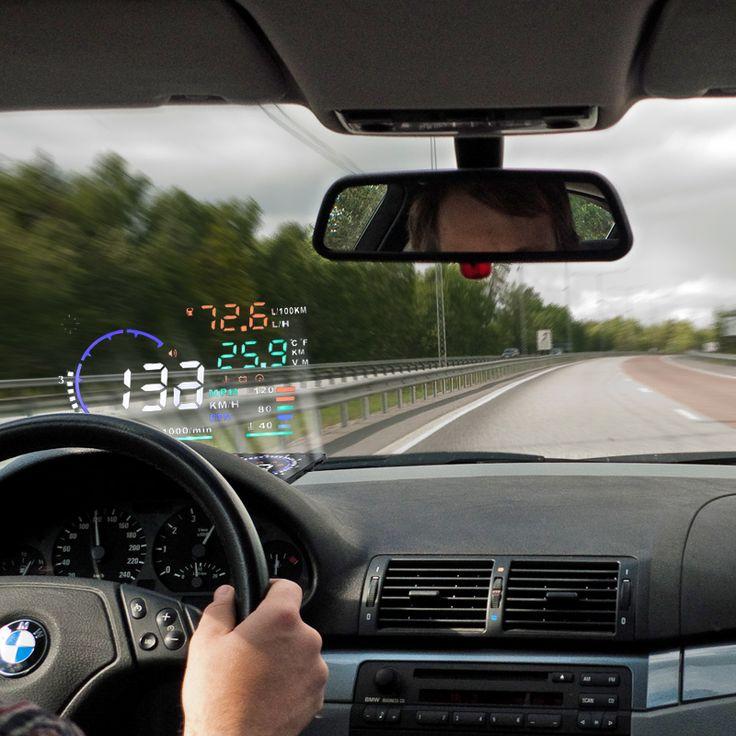 "5.5"" A8 Car HUD Head Up Display Projector Digital Light Self-adaptive Speeding Warning Fuel OBD II and EOBD Speed meters"
