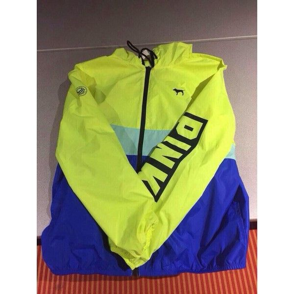 Victoria's Secret Pink Neon Yellow/Blue Full Zip Anorak Hoodie... ❤ liked on Polyvore featuring victoria's secret