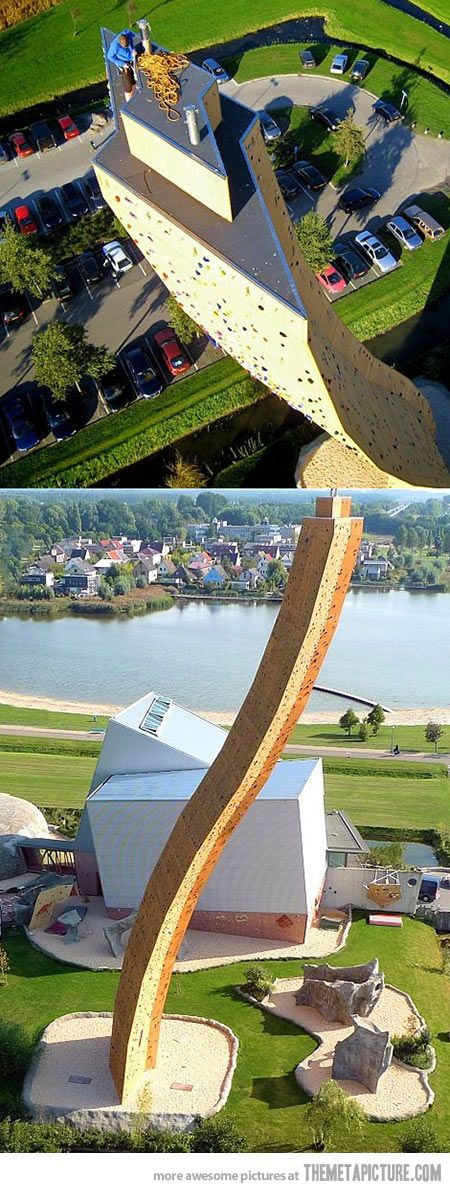 Climb the world's tallest climbing wall, the Excalibur at the Klimcentrum Bjoeks (Bjoeks Climb Center) in the town of Groningen, the Netherlands.