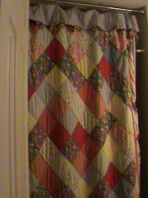 An Old Quilt That Used For A Shower Curtain.