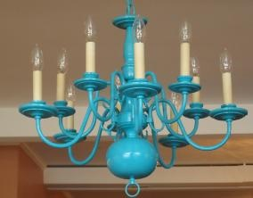 Perfection. A Beautiful teal Chandelier. Diy beauty.