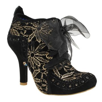 Abigails Party | Irregular ChoiceCome and join the party! New Abigails Party for this season! This autumn we have a black fabric upper with a punched faux suede heel and toe cap. A gold embroidered flower design is all around the boot and it has a black organza wide lace.