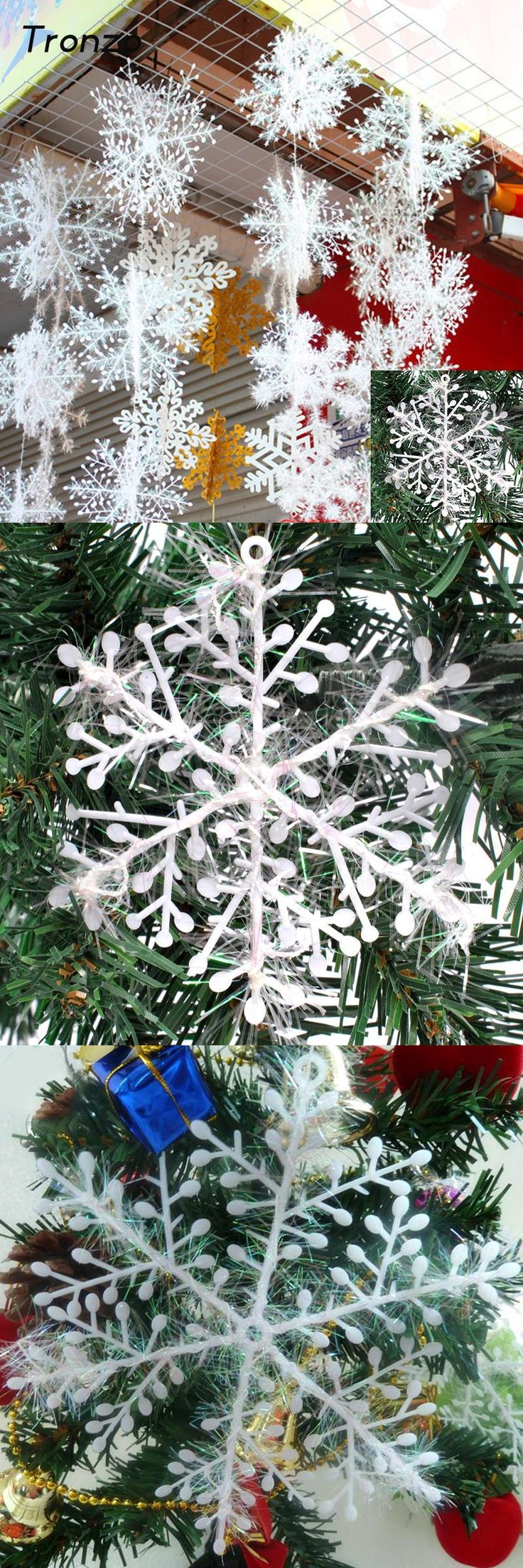[Visit to Buy] Tronzo Christmas Tree Decorations Snowflakes 30pcs 6cm White Plastic Artificial Snow Christmas Decorations for Home Navidad #Advertisement