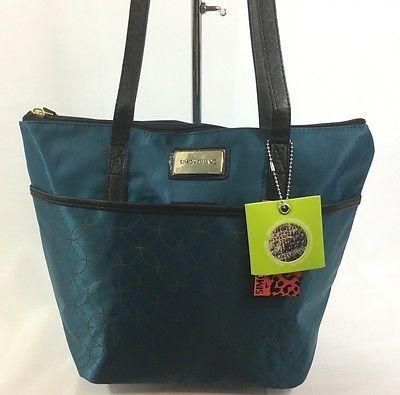 Simon Chang Lunch Bag Insulated Box Handbag Tote For Woman Teal / Gold   NWT