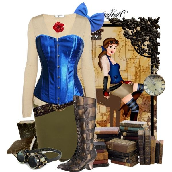 """Belle - Steampunk - Disney's Beauty & the Beast"" by rubytyra on Polyvore"