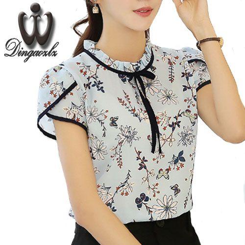 Women Summer Floral Print Chiffon Blouse Ruffled Collar Bow Tie Tops Petal Short Sleeve Chiffon shirt Plus Size Blusas Femininas #Affiliate