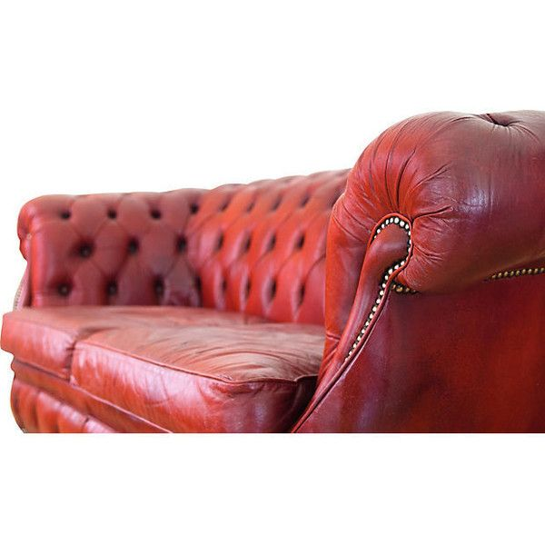 One Kings Lane Red Leather Chesterfield Sofa (€4.480) ❤ liked on Polyvore featuring home, furniture, sofas, red leather furniture, red sofa, chesterfield sofa, red leather sofa and red couch