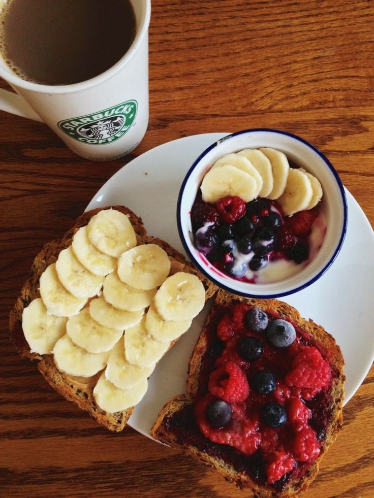 : Breakfast - flaxseed toast with peanut butter, banana and honey ...