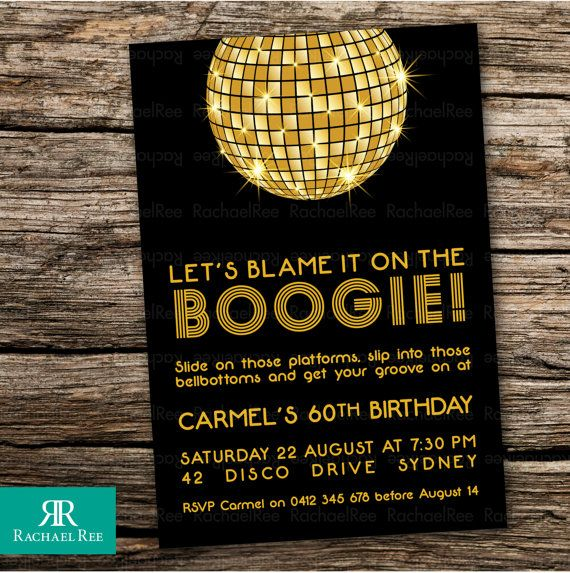 Printed Birthday Invitations | 'Let's Blame it on the Boogie!' | Disco 70s 1970s